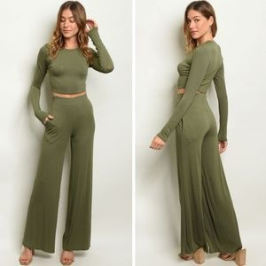 Cropped Top & High Waist Pants Set | Olive Green